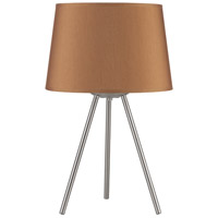 Lights UP Weegee Small 1 Light Table Lamp in Brushed Nickel with Gold Silk Glow Shade 600BN-GOL