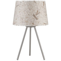 Lights UP Weegee Small 1 Light Table Lamp in Brushed Nickel with Mango Leaf Shade 600BN-MLF