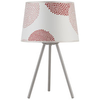 Lights UP Weegee Small 1 Light Table Lamp in Brushed Nickel with Red Mumm Shade 600BN-RDM
