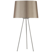 Lights UP 601BN-BLP Weegee 27 inch 100 watt Brushed Nickel Table Lamp Portable Light in Pale Burlap