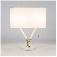 Blip 22 inch 60 watt Brass & White Lacquer Table Lamp Portable Light in White Linen