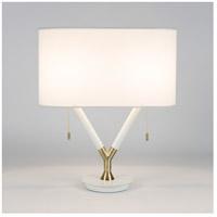 Lights UP 690BW-WHT Blip 22 inch 60 watt Brass & White Lacquer Table Lamp Portable Light in White Linen