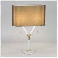 Blip 30 inch 60 watt Brass & White Lacquer Table Lamp Portable Light in Driftwood Silk Glow