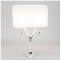 Blip 30 inch 60 watt Brass & White Lacquer Table Lamp Portable Light in White Linen