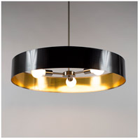 Lights UP 8030BN-QDT Ziggy LED 5 inch Brushed Nickel Chandelier Ceiling Light in Quilted Gold Duotrans
