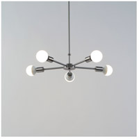Lights UP 8050BN-XXX Ziggy 5 Light 5 inch Brushed Nickel Chandelier Ceiling Light in No Shade
