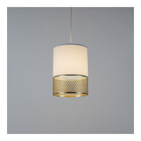 Lights UP 8220GD-WHT Diamond Small LED 5 inch Gold Pendant Ceiling Light in White Linen