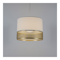 Diamond Large LED 5 inch Gold Pendant Ceiling Light in White Linen