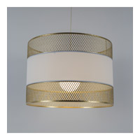 Diamond Double LED 5 inch Gold Pendant Ceiling Light in White Linen
