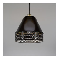 Lights Up Signature 1 Light Pendant in Black with Quilted Gold Duotrans Shade 8320BK-QDT