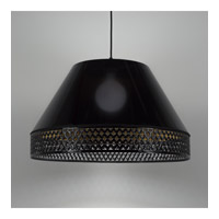 Lights Up Signature 1 Light Pendant in Black with Quilted Gold Duotrans Shade 8330BK-QDT