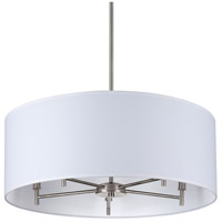 Walker LED 5 inch Brushed Nickel Chandelier Ceiling Light in White Linen