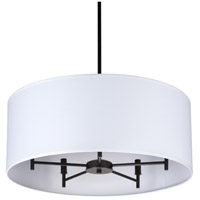 Walker LED 5 inch Oil Rubbed Bronze Chandelier Ceiling Light in White Linen