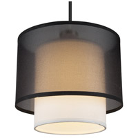 Lights Up Signature 1 Light Pendant in Brushed Nickel with Black Organza Shade 9062BN-BOR