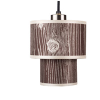 Lights UP 9206BN-FBD Deco Mini LED 5 inch Brushed Nickel Pendant Ceiling Light in Faux Bois Dark