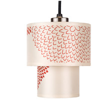 Lights UP 9206BN-RDM Deco Mini LED 5 inch Brushed Nickel Pendant Ceiling Light in Red Mumm