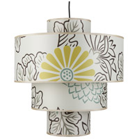 Lights UP 9208BN-KIM Deco Deluxe 1 Light 5 inch Brushed Nickel Pendant Ceiling Light in Kimono
