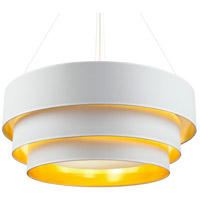 Lights UP 9275BN-MWG Deco Deluxe 3 Light 30 inch Brushed Nickel Pendant Ceiling Light in Metallic White & Gold