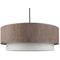 Lights Up Signature 1 Light Pendant in Brushed Nickel with Walnut Veneer Shade 9440BN-WWD