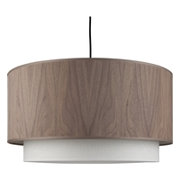 Woody LED 5 inch Brushed Nickel Pendant Ceiling Light in Walnut Veneer