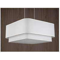 Lights UP Blip Double 24 4 Light Pendant in Brushed Nickel with White Linen Shade 9525BN-WHT