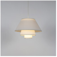Lights Up Signature 1 Light Pendant in Brushed Nickel with White Linen Shade 9603BN-WHT