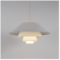 Lights Up Signature 1 Light Pendant in Brushed Nickel with White Linen Shade 9604BN-WHT