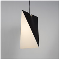 Chevron LED 5 inch Metallic Lined Black Pendant Ceiling Light in White Linen