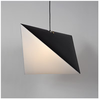 Lights UP 9620MB-WHT Chevron LED 5 inch Metallic Lined Black Pendant Ceiling Light in White Linen