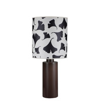 Lights UP American Ceramic Circa 1 Light Table Lamp in Chestnut Glaze with Black Ginkgo Leaf Shade AC-501CH-BGL