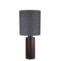Lights UP American Ceramic Circa 1 Light Table Lamp in Chestnut Glaze with Penguin Tweed Shade AC-501CH-PEN