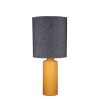 Lights UP American Ceramic Circa 1 Light Table Lamp in Fiesta Glaze with Penguin Tweed Shade AC-501FI-PEN