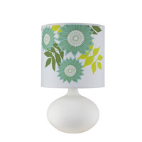 Lights UP American Ceramic Pops 1 Light Table Lamp in Bisque Glaze with Anna Green Shade 503BQ-ANG