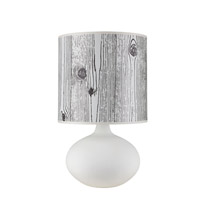 Lights UP American Ceramic Pops 1 Light Table Lamp in Bisque Glaze with Faux Bois Dark Shade AC-503BQ-FBD