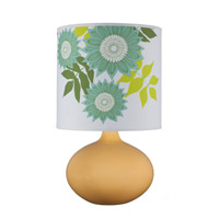 Lights UP American Ceramic Pops 1 Light Table Lamp in Fiesta Glaze with Anna Green Shade AC-503FI-ANG