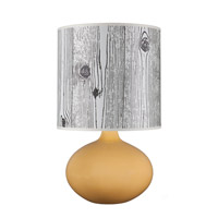 Lights UP American Ceramic Pops 1 Light Table Lamp in Fiesta Glaze with Faux Bois Dark Shade AC-503FI-FBD