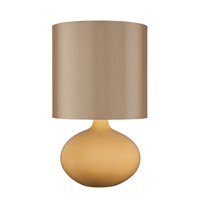 Lights UP American Ceramic Pops 1 Light Table Lamp in Fiesta Glaze with Gold Silk Glow Shade AC-503FI-GOL