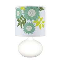 Lights UP American Ceramic Pops 1 Light Table Lamp in Gloss White Glaze with Anna Green Shade AC-503GW-ANG
