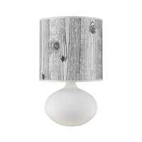 Lights UP American Ceramic Pops 1 Light Table Lamp in Bisque Glaze with Faux Bois Light Shade AC-503BQ-FBL