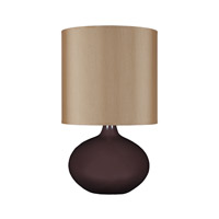Lights UP American Ceramic Pops 1 Light Table Lamp in Chestnut Glaze with Croissant Silk Glow Shade AC-503CH-CRO