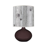 Lights UP American Ceramic Pops 1 Light Table Lamp in Chestnut Glaze with Faux Bois Light Shade AC-503CH-FBL