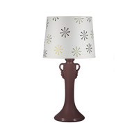 Lights UP American Ceramic Ginger 1 Light Table Lamp in Chestnut Glaze with Snowflake Shade AC-505CH-SNO
