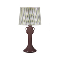 Lights UP American Ceramic Ginger 1 Light Table Lamp in Chestnut Glaze with Stripes Shade AC-505CH-STR