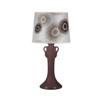 Lights UP American Ceramic Ginger 1 Light Table Lamp in Chestnut Glaze with Tan Cornflower Shade AC-505CH-TCF