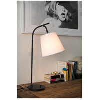 Lights UP 455BN-WHT Walker 26 inch 100 watt Brushed Nickel Table Lamp Portable Light in White Linen