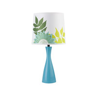 Lights UP Oscar Boudoir 1 Light Table Lamp in Blue with Anna Green Shade 260BU-ANG