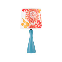 Lights UP Oscar 1 Light Boudoir Table Lamp in Blue with Anna Red Shade 260BU-ANR