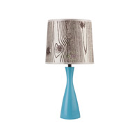 Lights UP Oscar 1 Light Boudoir Table Lamp in Blue with Faux Bois Light Shade 260BU-FBL