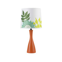 Lights UP Oscar 1 Light Boudoir Table Lamp in Carrot with Anna Green Shade 260CA-ANG