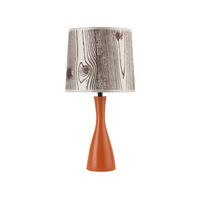 Lights UP Oscar 1 Light Boudoir Table Lamp in Carrot with Faux Bois Light Shade 260CA-FBL